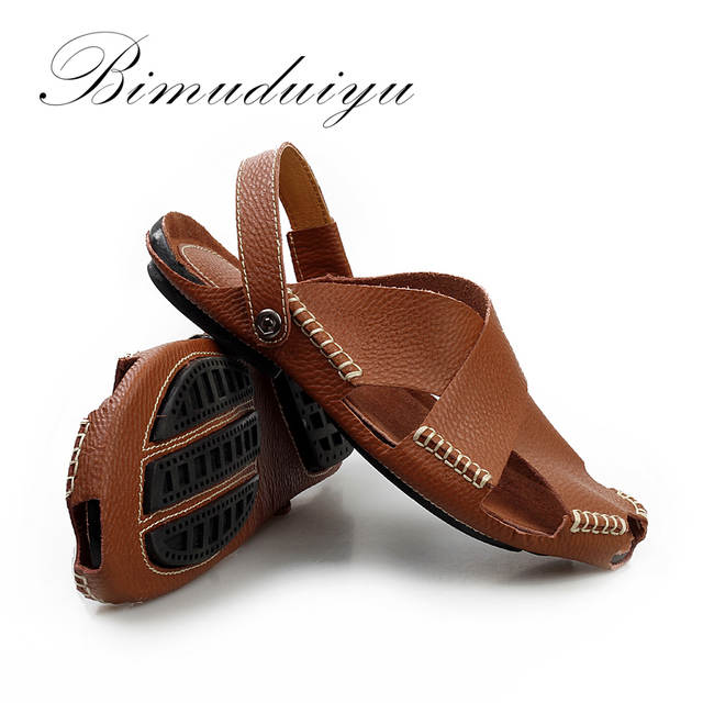 4dfae3379d8 placeholder BIMUDUIYU Summer New Arrival Soft Leather Beach Sandals  Handmade Genuine Leather Casual Mens breathable Sandal Simple
