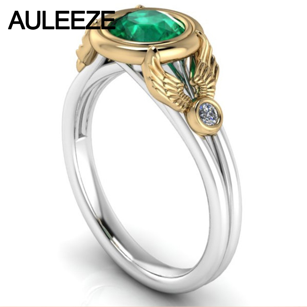 10K Two-tone Gold Simulated Emerald Wedding Ring Moissanite Lab Grown Diamond Split Shank Ring White Yellow Gold Engagement Ring transgems 1 carat lab grown moissanite diamond solitaire wedding band for man brilliant solid 18k two tone gold gentle dcc031