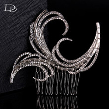 White 585 Gold Color Vintage Feather Wedding Hair Jewelry Especially Women Bridal Accessories crystal Embroidery Tiaras A002