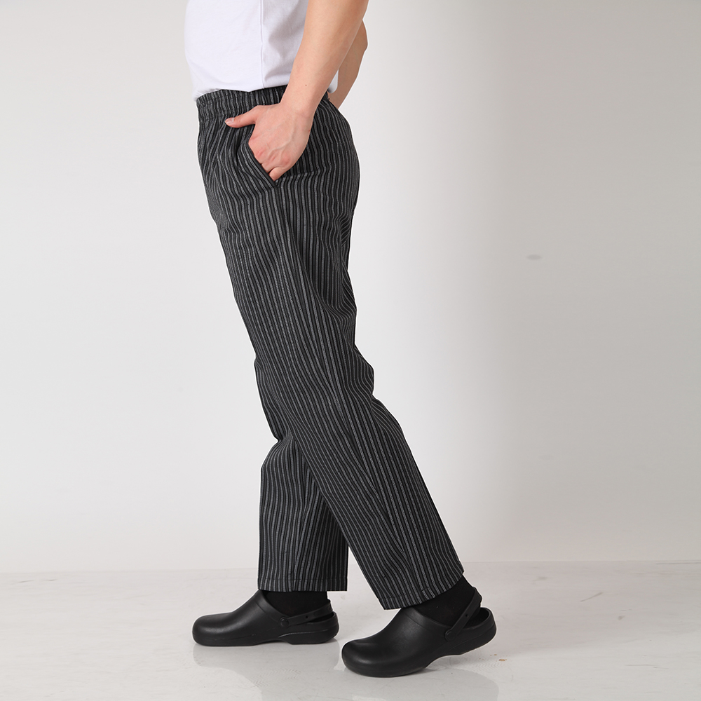 Men Black Stripe Pants Wholesale Restaurant Kitchen Food Service Bakery Coffee Shop Sushi Work Wear Pants Waiter Cooker Trousers