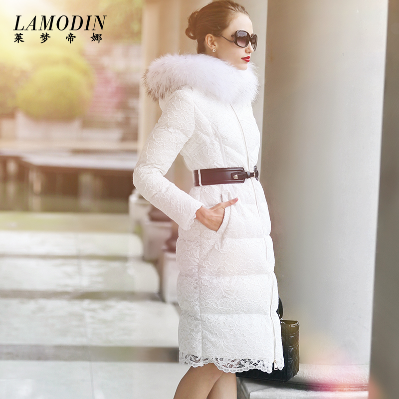 2015 new Hot winter Thicken Warm Woman Down jacket Coat Parkas Outerwear Hooded Raccoon Fur collar Loose long plus size XL Lace 2016 new hot winter thicken warm woman down jacket coat parkas outerwear hooded raccoon fur collar long plus size straight cold