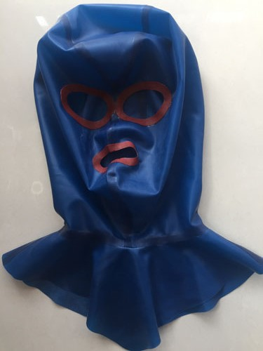 Top 100% pure natural latex fetish zentai handmade Blue and Red spliced with back zipper and neck collar rubber mask Hot Sale pure and natural 250 1090415