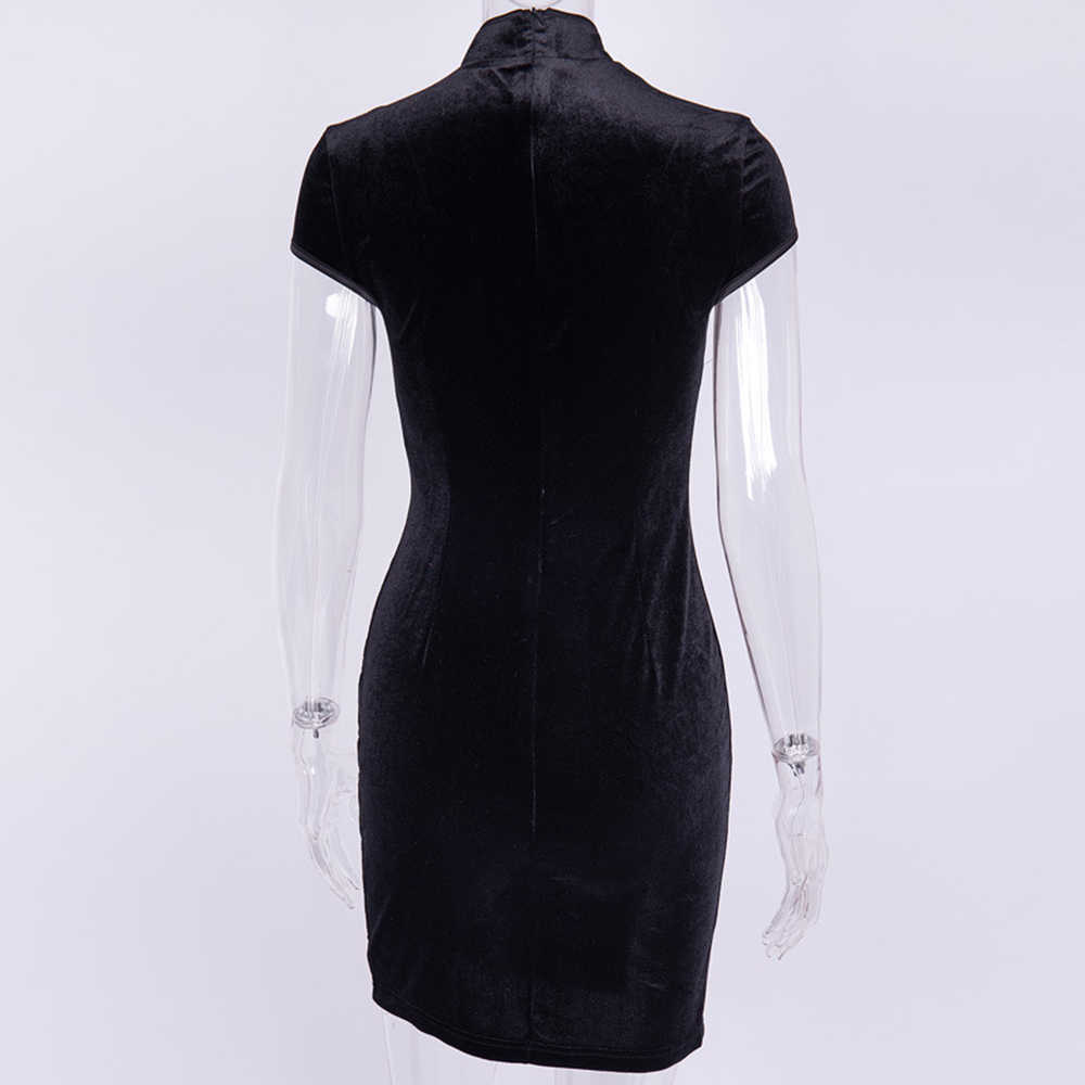 2019 осенне-зимнее облегающее платье с разрезом бархатное сексуальное платье женское Ретро китайское платье Чонсам обтягивающее элегантное платье черная одежда