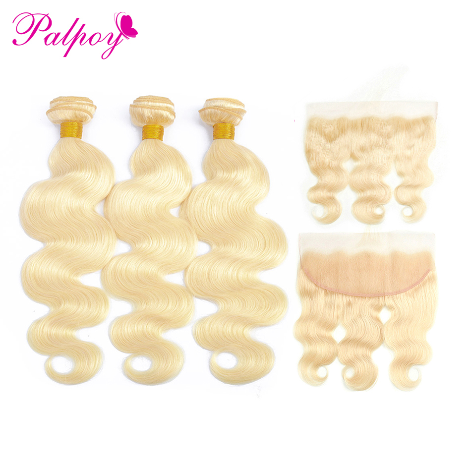 PALPOY Blonde Bundles With 13 4 Ear to Ear Lace Frontal Closure Brazilian Remy Hair Body