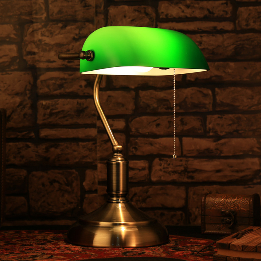 Us 78 2 8 Off Clic Retro Green Table Lamps With Pull Chain Switch Gl Lampshade Alloy Bracket Bedroom Bedside Office Vintage Desk In Led