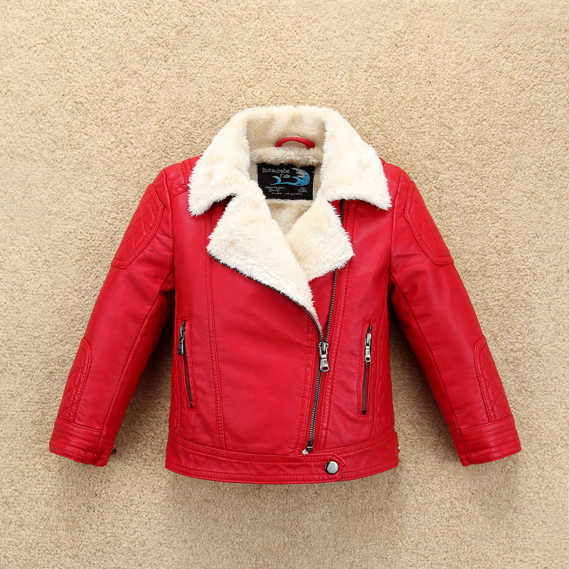 Super Warm Snow Proof Boys Girls Leather Jacket Fur Collar Winter Thermal Kids Motor Coat Bomber baby Toddler Clothes thick fur collar boys girls leather jacket for autumn winter kids warm fleece stylish coat bomber kids jacket toddler girl