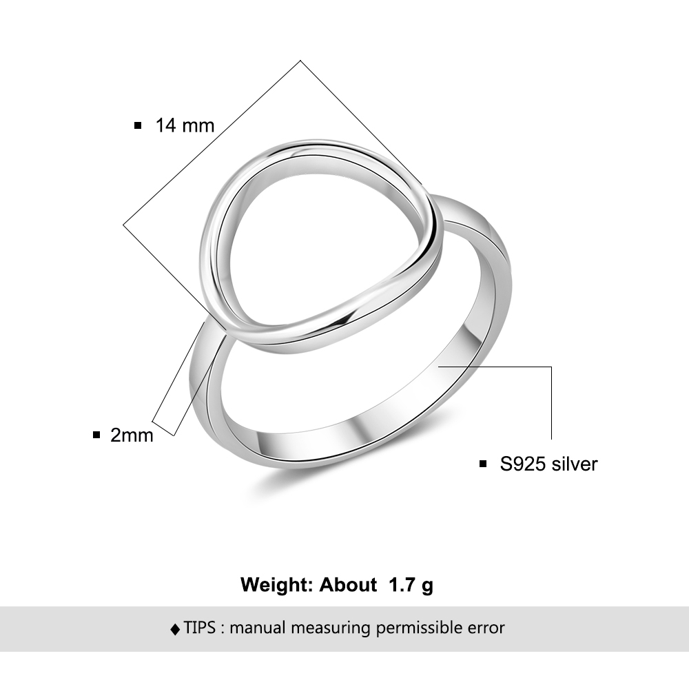 Minimalist Open Circle Rings for Women 925 Sterling Silver Fine Jewelry Gift Round Female Ring Finger Size 6 7 8 Lam Hub Fong in Rings from Jewelry Accessories