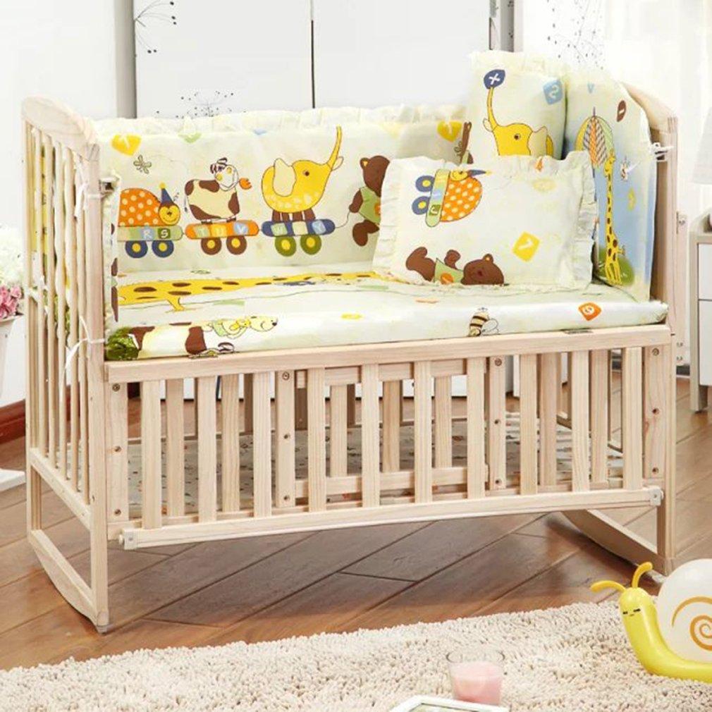 5Pcs Cotton Baby Cot Bedding Set 100*58cm/110*60cm Newborn Cartoon Crib Bedding Comfortable Crib Bumper Baby Organizer Cot Kit