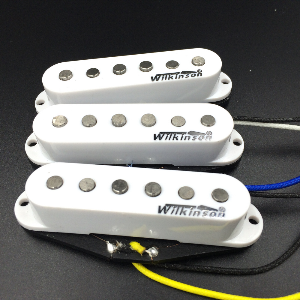 NEW Wilkinson Humbucker Guitar Pickup Electric guitar pickups three single white aluminum nickel cobalt single coil pickups WVS vintage voice single coil pickups fits for stratocaster ceramic bobbin alnico single coil guitar pickup staggered pole top