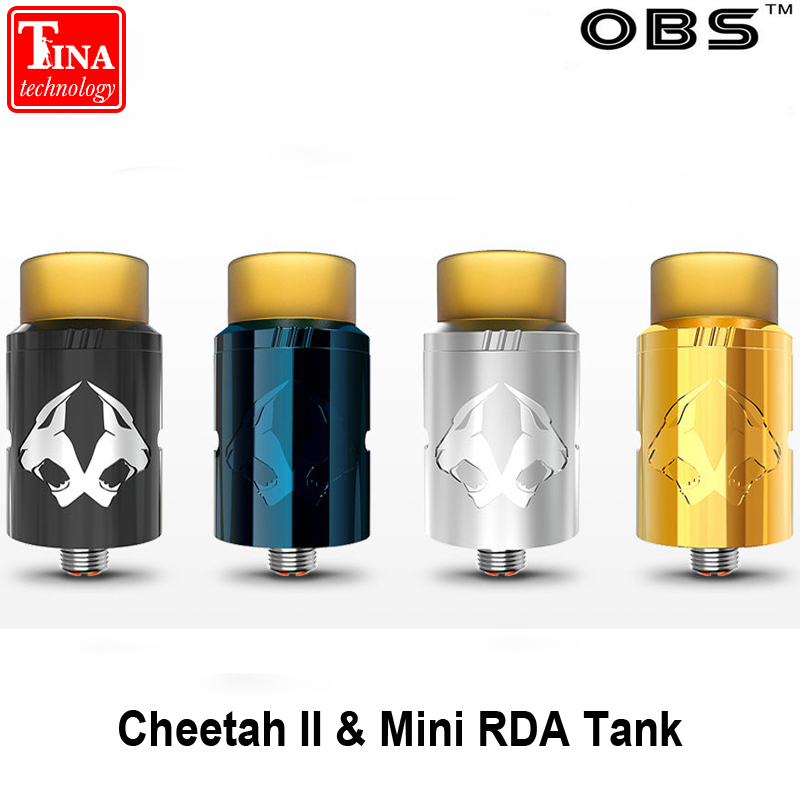 Original OBS Cheetah II & Mini RDA Tank Electronic Cigarettes Rebuildable Dripping Atomizer Vaporizer Vape Top Airflow Atomizer