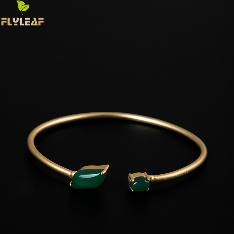 купить Flyleaf 100% 925 Sterling Silver Green Natural Stone Gold Color Cuff Bracelets & Bangles For Women Classic Lady Jewelry недорого
