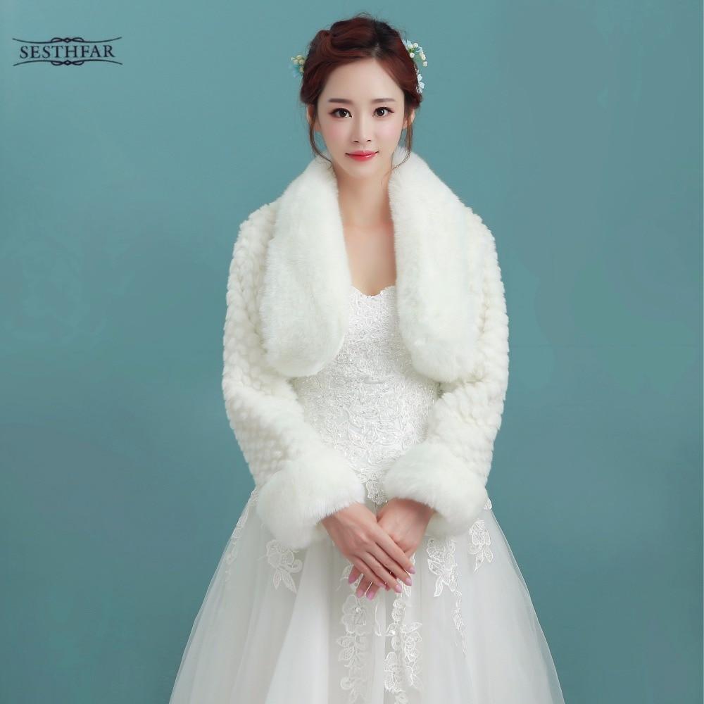 2017 Top Quality Winter Plus Size Faux Fur Bridal Cape White Wedding ...