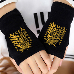 Аниме атака на Титанов палец Хлопчатобумажные трикотажные наручные перчатки варежки для любителей аниме аксессуары для косплея подарок бе...
