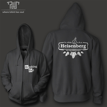 Free shipping Breaking bad 99% pure heisenberg men women unisex high quality zip up hoodie 10.3oz weight organic fleece cotton