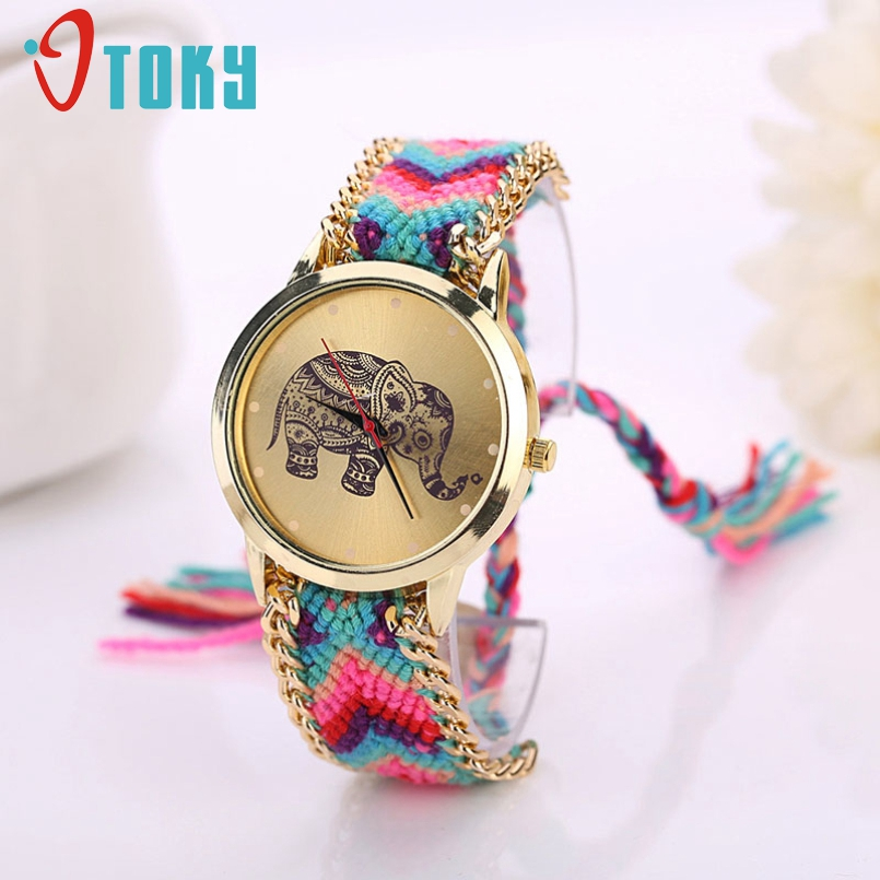 Excellent Quality 2016 Fashion Womens Quarzt Watches Handmade Weaved Braided Elephant Bracelet Dial Quarzt Watches Relojes Mujer