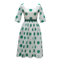 SHCAI Spring Summer New Arrivals Women Elegant Vintage&Retro Polka Dots Chiffon Hepburn One-Piece Long Dress