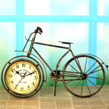 Retro Iron Bicycle Bell Ornamental Clock Household Decor Wrought Furnishing Articles European Rural Table Clock Sitting Room