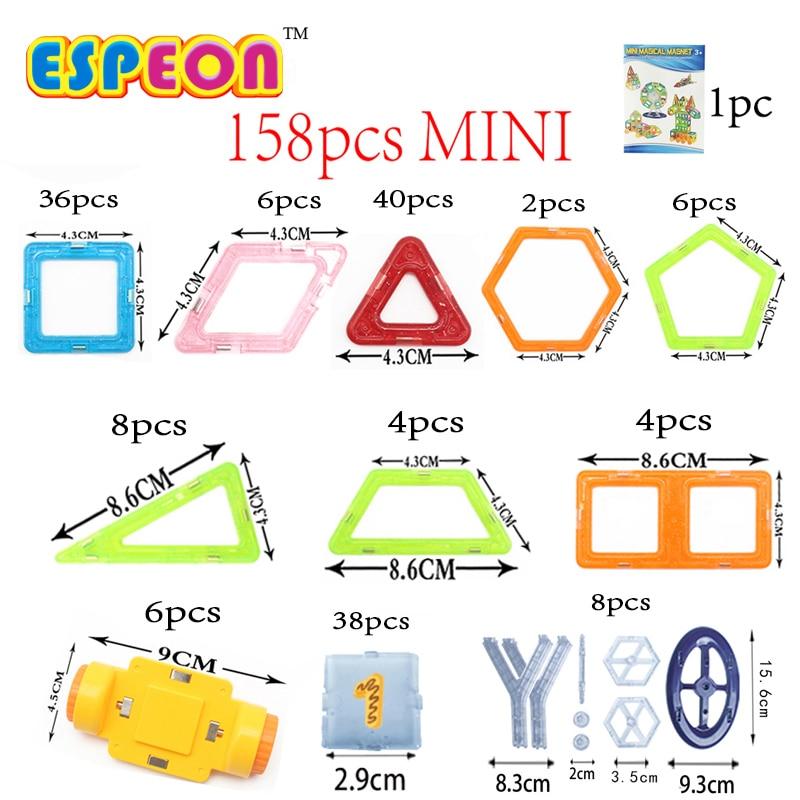 158PCS Mini Enlighten Bricks Educational Magnetic Designer Toy Square Triangle DIY Building Blocks Toys For Children bi color triangle ru bun lock children puzzle toy building blocks
