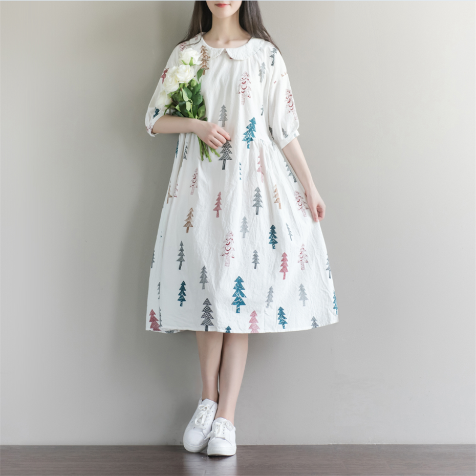f736550906a1 Christmas Tree Printing Summer Dresses 2017 New Women Peter pan Collar Half  Sleeved White Cotton Dress Plus Size