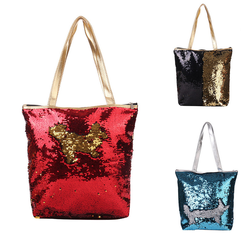 Women Girl Female Bar Mermaid Sequined Glitter Spangled DIY Shopping Casual Tote Shoulder Bag Top Handle Travel Sequins Bag