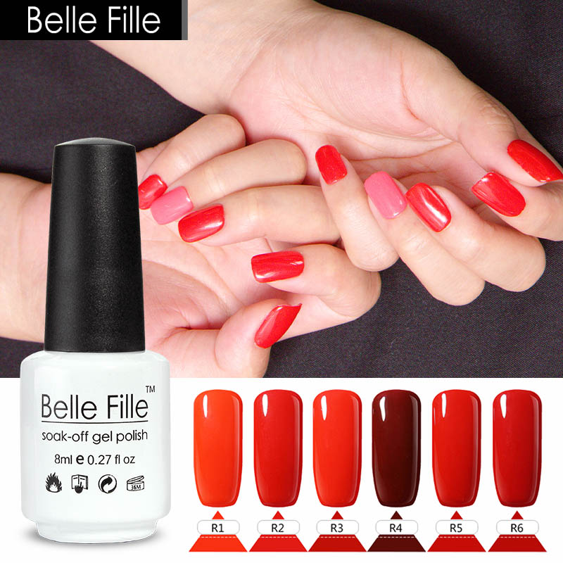 Christmas Nail Art With Gel Polish: BELLE FILLE Christmas Red Color Series Nail Gel Polish UV