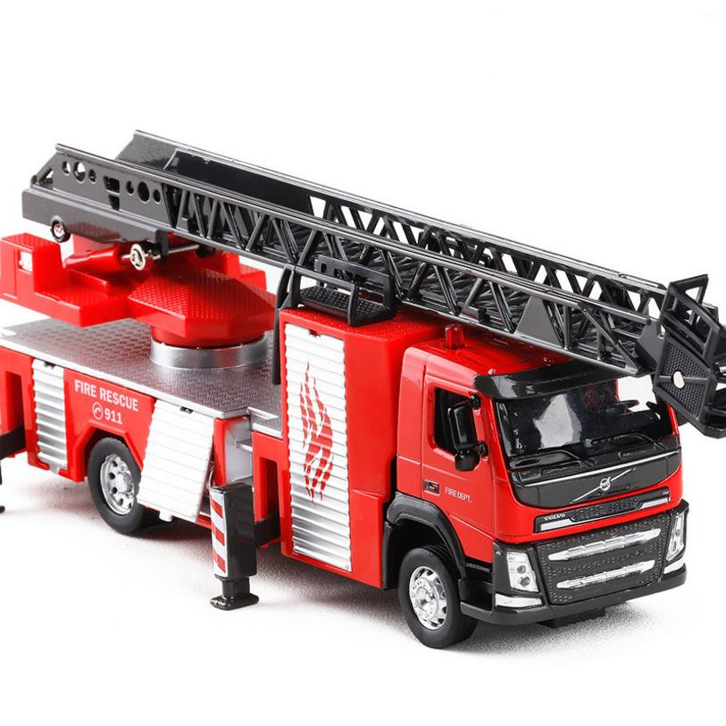 1:50 Volvo water cannon tank fire truck alloy pull back toy diecasts metal model sound&light fire rescue models free shipping