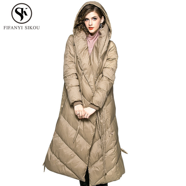 3ac7332af73 White duck Down Jacket Women 2018 Winter New Hooded Down Coats Long  Outerwear Female Casual Warm Parkas High quality Overcoat