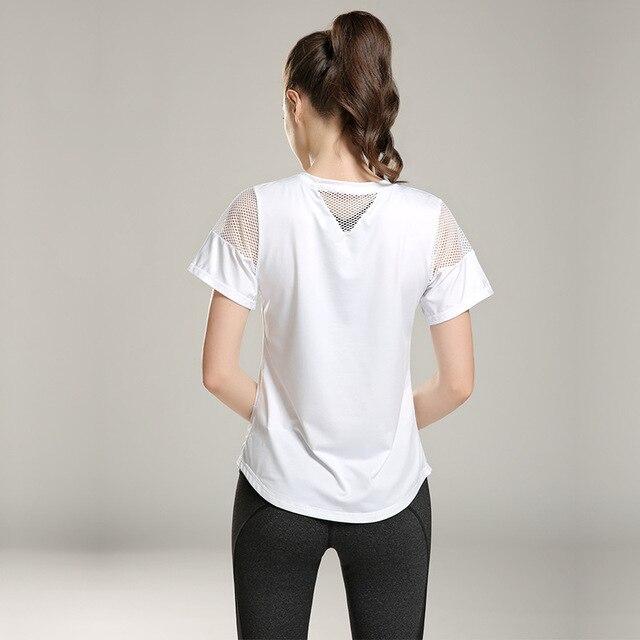 Eshtanga woman short sleeve shirt  Elastic Yoga Mesh Sports T Shirt Fitness Women's Gym Running Black Tops tee free shipping 4