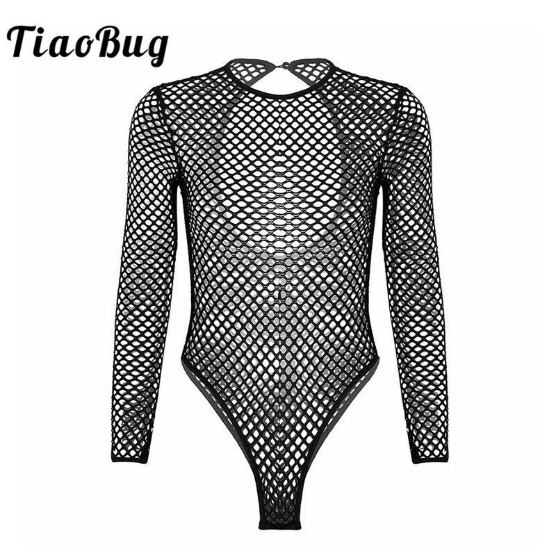 TiaoBug Fashion Women One-piece Fishnet Bodysuit See Through Sheer Long Sleeve High Cut Leotard Club Party Sexy Jumpsuit Teddy