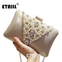 ETAILL 2017 V Shape Luxurious Pearl Diamonds Clutch Bags Beading Dinner Party Hand Bags Bridal Wedding Mini Purse Pillow Bag