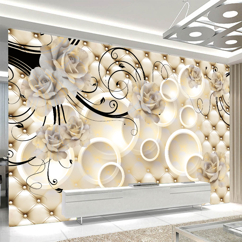 Custom any size wall mural wallpapers Modern fashion White Big Flower Circle Perspective Wallpaper Wall Sticker YBZ085