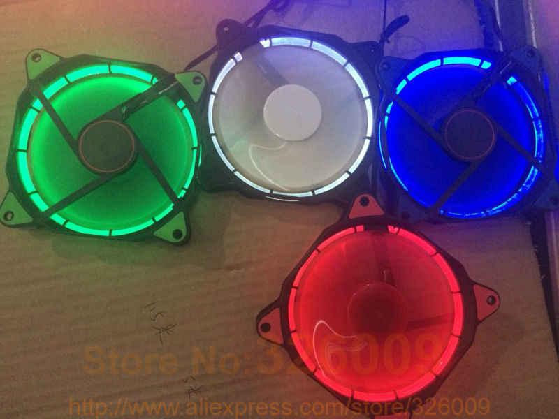 Крутой! Солнечное затмение 12 см 120 мм кулер вентилятор охлаждения silent fan синий зеленый красный, белый цвет светло руководство кольцо 2017 акция