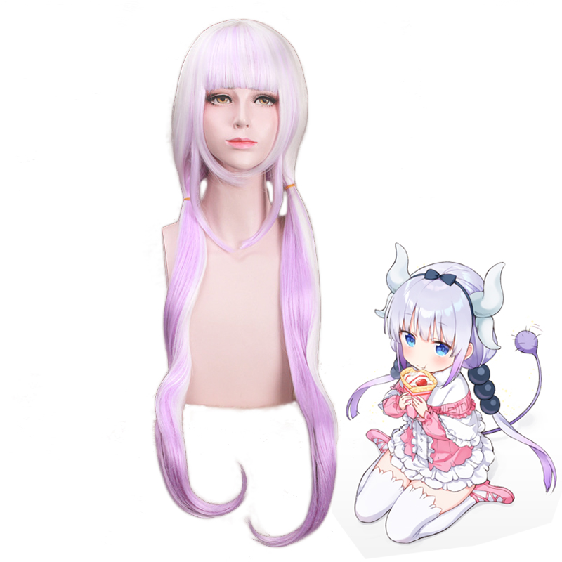 Anime Miss Kobayashi/'s Dragon Maid Kanna Kamui Full Wig Cosplay Long Hair Wigs