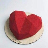 SHENHONG 3D Diamant Liebe Herz Dessert Kuchen Form Pop Silikon Art Mold 3D Mousse Backen Gebäck Silikonowe Moule Dekoration-in Backformen aus Heim und Garten bei