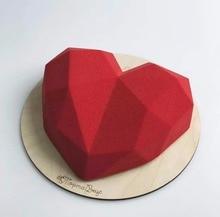 SHENHONG 3D Diamond Love Heart Dessert Cake Mould Pop Silicone Art Mold 3D Mousse Baking Pastry Silikonowe Moule Decoration