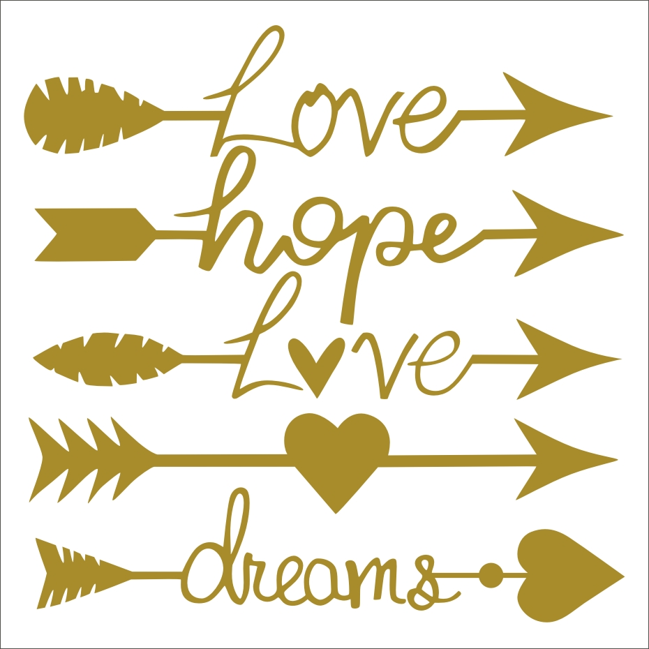 Arrow Pattern Love Hope Diy Wall Stickers For Lover Living Room ...