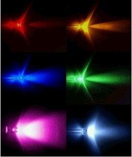600PCS,6 value UltraBright R,G,B,W,Y,P,LEDs,3mm +Free Resistors Free Shipping 3mm light-emitting diode