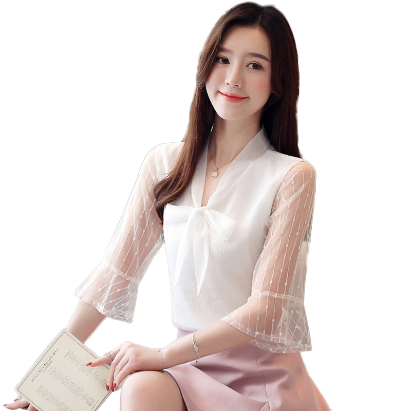 2019 New Temperament V Neck shirt women High quality chiffon Fashion Elegant Short sleeve blouse office formal Bow tops NW1928