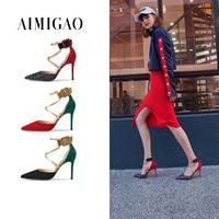 Aimigao красный овец замшевые женские кросс ремни острый носок пикантные стилеты на высоком каблуки 9 см пряжки ремня модная обувь для вечерино