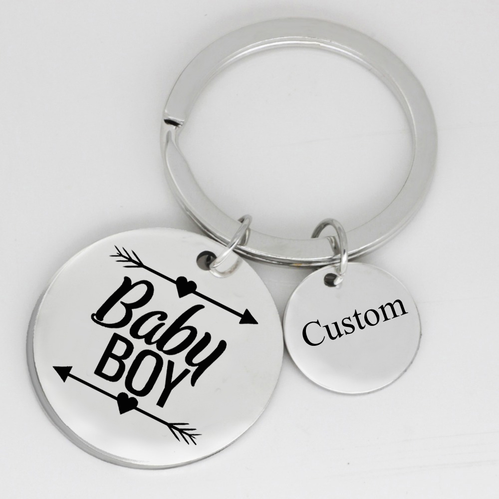 Baby Boy Keychain Personalized Names Or Letters Men Stainless Steel Jewelry Accept Drop Shipping YP6171