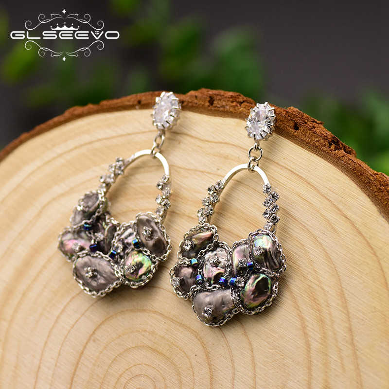 GLSEEVO Handmade Natural Black Pearl Drop Earrings For Women Pave Zircon Wedding Jewelry Boucle D'oreille Femme 2019 GE0696
