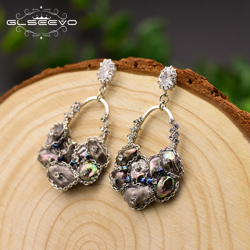 GLSEEVO Handmade Natural Black Pearl Drop Earrings For Women Pave Zircon Wedding Jewelry Boucle Doreille Femme 2019 GE0696GLSEEVO Handmade Natural Black Pearl Drop Earrings For Women Pave Zircon Wedding Jewelry Boucle Doreille Femme 2019 GE0696