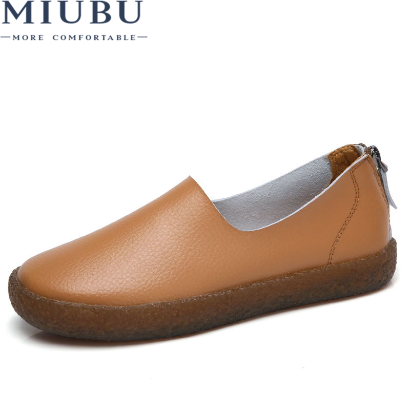 MIUBU 2018 Spring Women Flats Shoes Platform Sneakers Shoes   Leather     Suede   Casual Shoes Slip On Flats Heels Creepers Moccasins