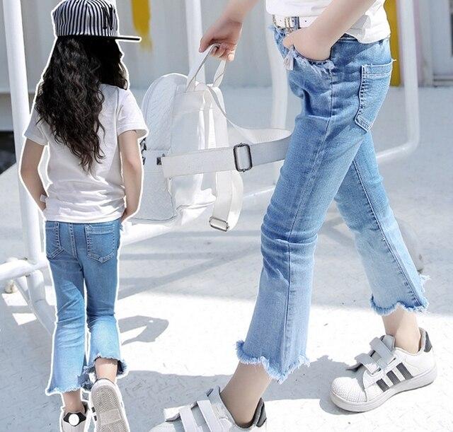 Aliexpress.com  Buy Retail New Korea Tassel Boot Cut Nine Minutes Of Pants Kids Jeans Baby Girl ...