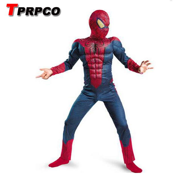 TPRPCO Amazing blue spiderman costume kids muscle girl 3d halloween costumes children boys the spider man mask child cos C35127
