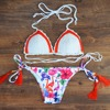10styles Sexy Handmade Crochet Bikini Women Floral Printed Bottom Swimsuit Brazilian Biquinis 2017Bandage Swimwear Bathing