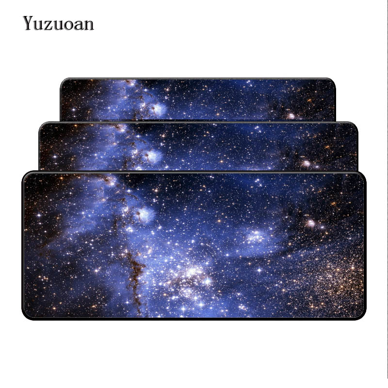 Yuzuoan Free Shipping Large Gaming Mouse pad Mousepad Star Space Waterproof Extended Lock Edge Computer Desk Notbook For CSGO