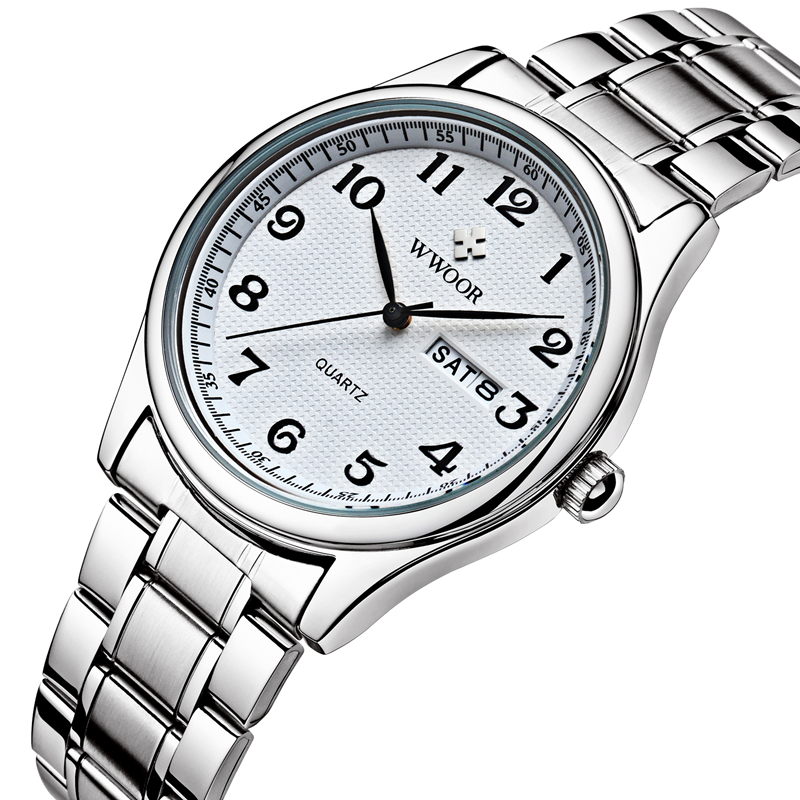 Original Mens Watch Brand WWOOR Auto Date Steel Sport Wristwatch Relojes Dress Men Casual Watches Japan