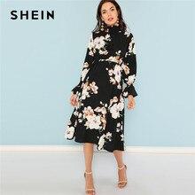 ac7474cc952a SHEIN Nero Stampa Mock Neck Pannello A Pieghe Vestito Floreale Elegante  Ruffle Streetwear Viaggio di Alta Vita Delle Donne di Au.