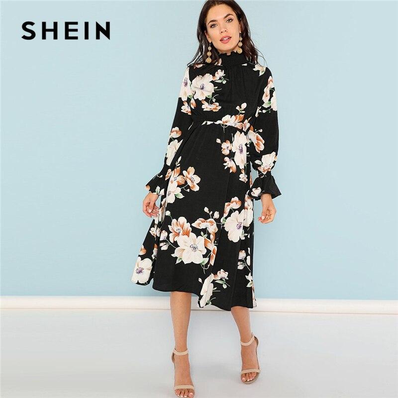 SHEIN Schwarz Drucken Mock Neck Plissee Panel Blumen Kleid Elegante Rüschen Streetwear Reise Hohe Taille Frauen Herbst Kleider